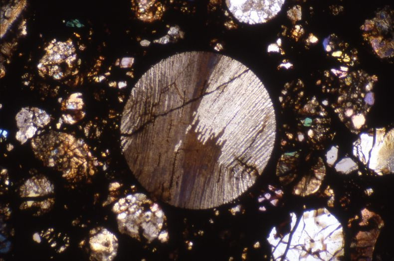 A chondrule in the Sainte Rose meteorite (x50)