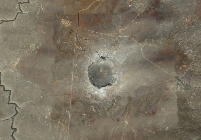 A meteor Crater (Arizona, USA). This crater with a diameter of 1,2 km is the world's best-preserved impact crater. It was caused by a meteoroid measuring approximately 100 metres, 50 000 years ago,