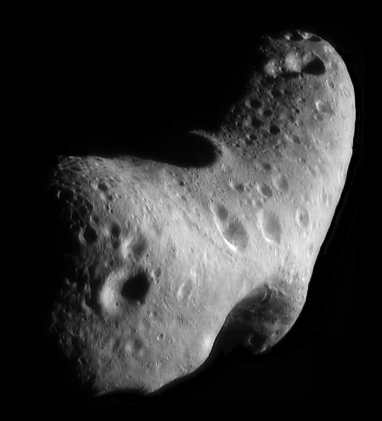 The Eros asteroid. The widest dimension is 33 km